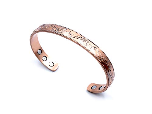 Stunning Flower Magnetic Copper Bracelet for Men for Women; Beautiful New Unique Lily Design; Pain Relief, Arthritis; Accessory