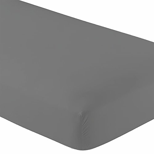 Crescent Knit Jersey 100% Cotton 2 Twin XL Fitted Bed Sheets (2-Pack) Soft and Comfy - Twin Extra Long, 15' Deep Pocket, 39' x 80' Great for Dorm, Hospital and Split King Dual Adjustable Beds (Grey)