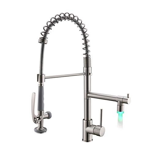 Fapully Contemporary Single Handle Kitchen Faucets with Pull Down Sprayer, 2 Spout Kitchen Sink Faucet with LED Light Brushed Nickel