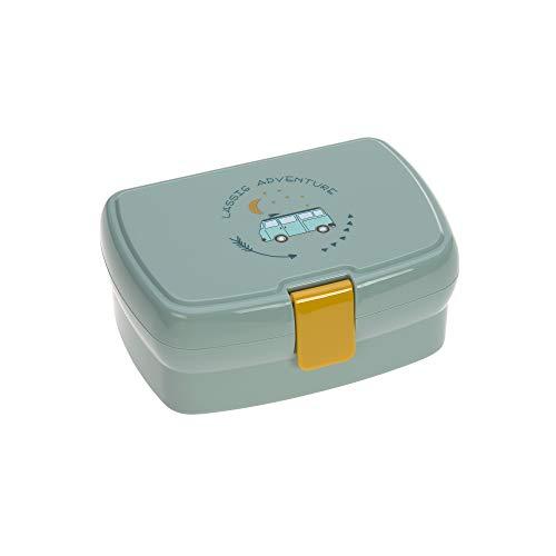 LÄSSIG Kinder Lunchbox Brotdose mit herausnehmbarer Unterteilung, BPA-frei/Adventure Bus, mint