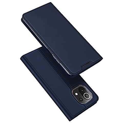 DUX DUCIS Funda Xiaomi Mi 11 Lite 5G   4G, PU Cuero Flip Carcasa Fundas Móvil de Tapa Libro para Xiaomi Mi 11 Lite 5G   4G (Azul Marino)