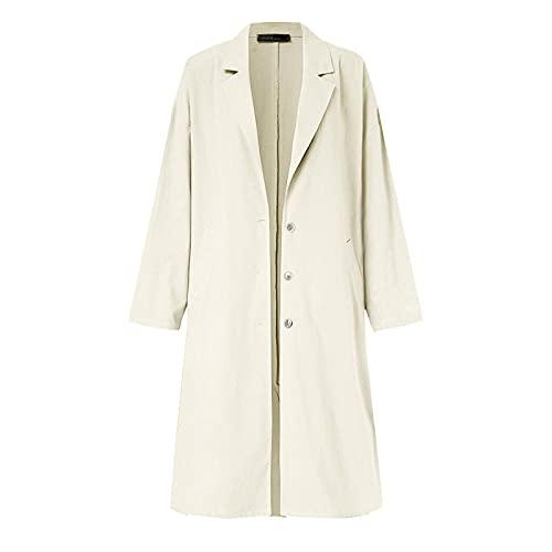 Wuyuana Abrigo de mujer cortavientos para mujer con un solo botonadura de solapa casual para oficina y mujer, abrigo de lino de algodón sólido para mujer (color: beige, tamaño: XXL)
