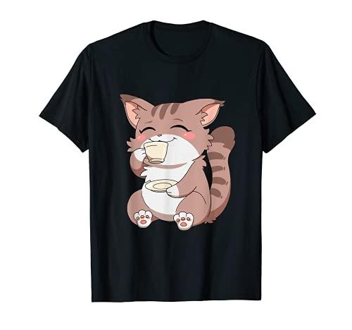 Caffè giapponese per gatti anime kawaii Maglietta