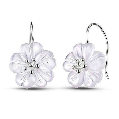 Regalo para ti Springlight S925 Pendientes colgantes de plata esterlina Flor en la lluvia Pendientes colgantes de cristal para mujeres y niñas(Silver)