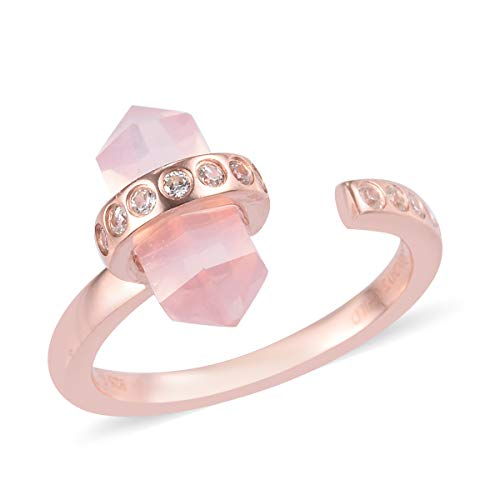 TJC Rose Quartz and White Zircon Open Ring for Women in Rose Gold Plated 925 Sterling Silver Adjustable Jewellery Size S, TCW 7.26ct