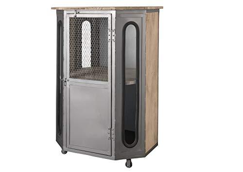 MASSIVMOEBEL24.DE Vitrinenschrank Schrank 76x120 1 Tür Industrial Eisen Mango Holz massiv geweißt