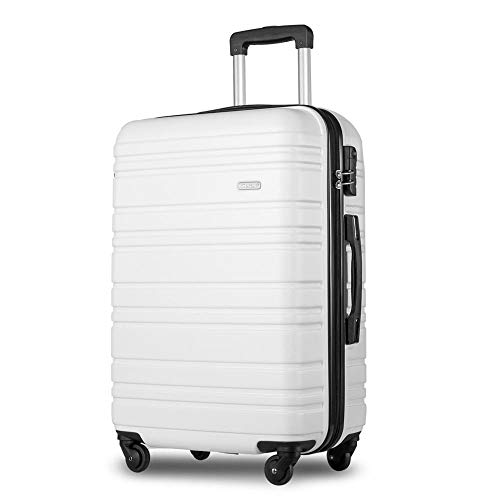 24' Lightweight Hard Shell 4 Wheel Travel Trolley Suitcase Luggage Set Holdall Cabin Case-White