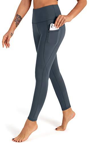FIGESTIN Damen Yogahose mit Taschen,Hohe Taille Sport Leggins Lange Yoga Pants Blickdicht Yogatights Fitnesshose Grau blau