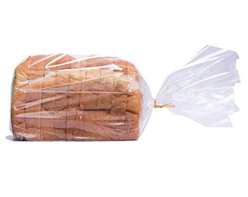 Wowfit Bread Poly Bags(PP Material) – Pack of 100 Entirely Transparent Clear Bakery Bags – Bread Loaf Packing Bags with 100 Gold Twist Ties – 8x4x18-Inch Grocery Bread Bags