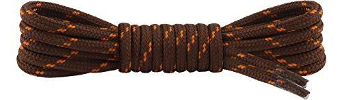 Ladeheid Qualitäts-Schnürsenkel LAKO1003, Elastische Rundsenkel für Arbeitsschuhe und Trekkingschuhe aus 100% Polyester, ø ca. 5 mm Breit, 25 Farben, 60-220 cm Länge (Braun/Orange, 90 cm/ø 5 mm)