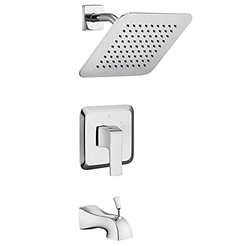 HOMELODY Shower Faucet and Bathtub Faucet Set Shower System with 8 Inch Rain Shower Head,Shower Tub Kit With Valve,Shower Head and Handle Set,Brushed Nickel