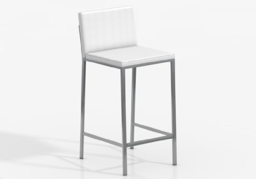 CANCIO Taburete Bar Ole 65 - Asiento-Respaldo Foam Confort Nobel Blanco/Patas Aluminio