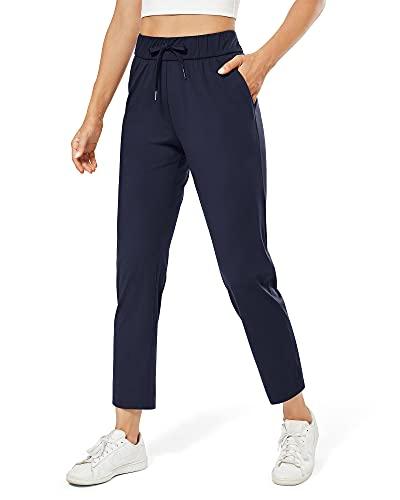 G4Free Pantalones deportivos para mujer, con bolsillos, elásticos, para correr, salón, para yoga, viajes, trabajo, 7/8 - azul - Large