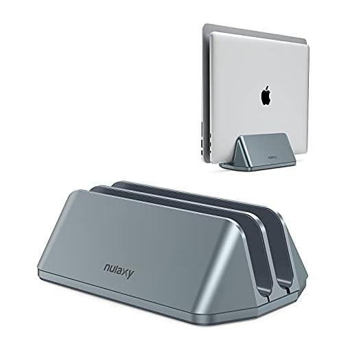 Nulaxy Soporte Vertical Dual para Ordenador Portátil, Doble Aluminio Soporte de Escritorio con Base Ajustable… 1