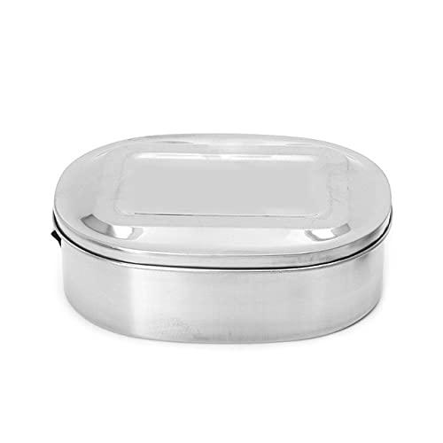 Fiambrera Cuadrada de Acero Inoxidable Bento Food Picnic Container Travel Fiambrera de 1/2 Capa para Estudiantes, Escuela - Una Sola Capa-XL, 1,
