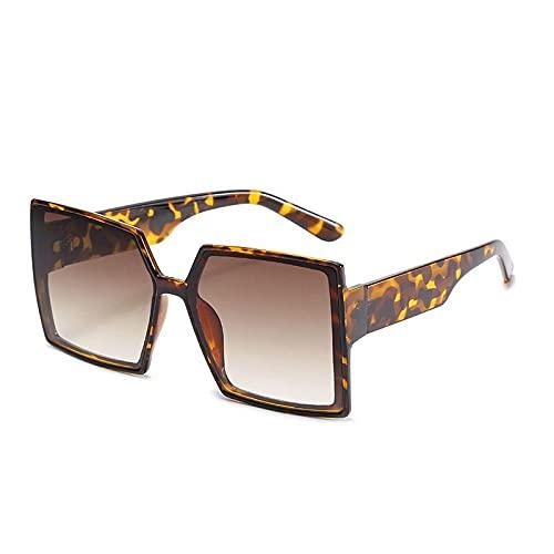U/N Gafas de Sol cuadradas Azules y Beige de Gran tamaño Vintage para Mujer, Gafas de Sol graduadas de Color Caramelo a la Moda, Tonos Femeninos, Negro-4