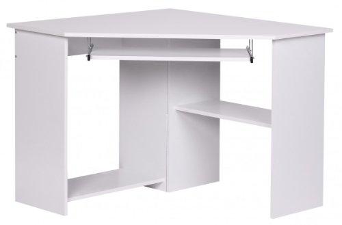 Kadima Roman - Mesa de Escritorio esquinera con Teclado, 72,5 x 103 x 97 cm, Color Blanco