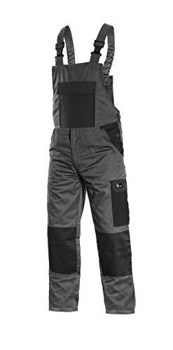 CANIS CXS Phoenix Cronos Arbeitslatzhose Professionelle Latzhose Herren Schutz für Monteur Gärtner Damen Hose für Mechaniker mit Klettverschlusstaschen Cargotaschen; grau mit schwarz (56)