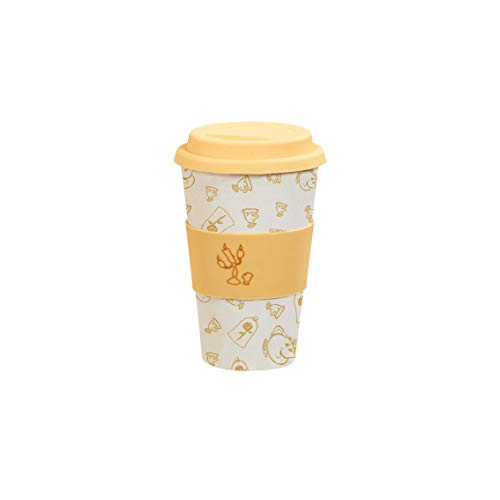 Funko Disney: Colour Block: Bamboo Lidded Mug: Be Our Guest Taza con Tapa, Fibra de bambú, 420ml