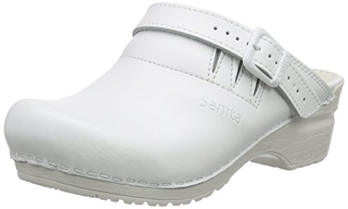 Sanita Workwear Unisex-Erwachsene San-Flex Open-OB Clogs, Weiß (White 1), 47 EU