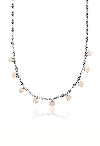 Collar gargantilla trébol de acero rosa amuleto de la suerte CK1407