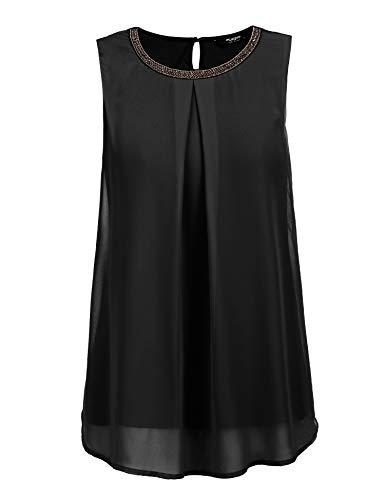 FINEJO Damen T-Shirt Frauen Tank Top mit Spitze Weste Top Casual Sommer Oberteile Trägertop Elegant Ärmellos Bluse