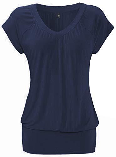 DOTIN Damen T-Shirt V-Ausschnitt Kurzarmshirt Causal Oberteil Falten Tops Stretch Tunika Basic Tee