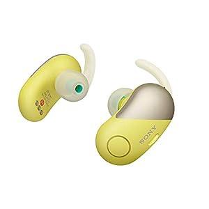 Sony Wireless Bluetooth in Ear Headphones: Noise Cancelling Sports Workout Ear Buds - Cordless, Sweatproof Sport Earphones, Built-in Microphone, Extra BASS –Yellow WF-SP700N/Y (International Version)