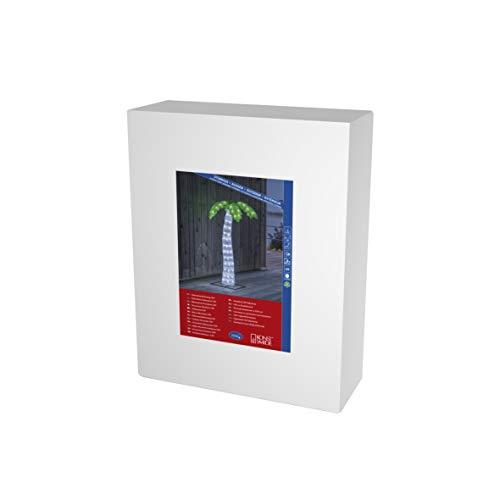 Konstsmide, 6278-203, LED Acryl Palme, 112 kalt weiße Dioden, 24 Außentrafo, weißes Kabel