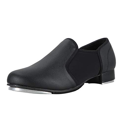 Linodes Unisex PU Leather Slip On Tap Shoe Dance Shoes for Women and Men's Dance Shoes-Black-8.5M