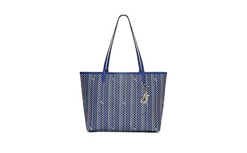 DKNY Women's Gemma Printed Tote Handbag With Pouch (Royal Blue)