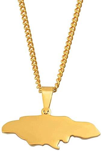 YZXYZH Collar Collares Jamaica Mapa Collares Pendientes para Mujeres Niñas Joyería De Acero Inoxidable Color Dorado Joyería De Jamaica