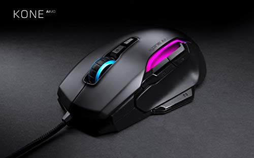 Roccat Kone AIMO gaming mouse (high precision, optical Owl-Eye sensor (100 to 16,000 Dpi), RGB AIMO LED lighting, 23 programmable buttons, designed in Germany, USB), black (remastered)