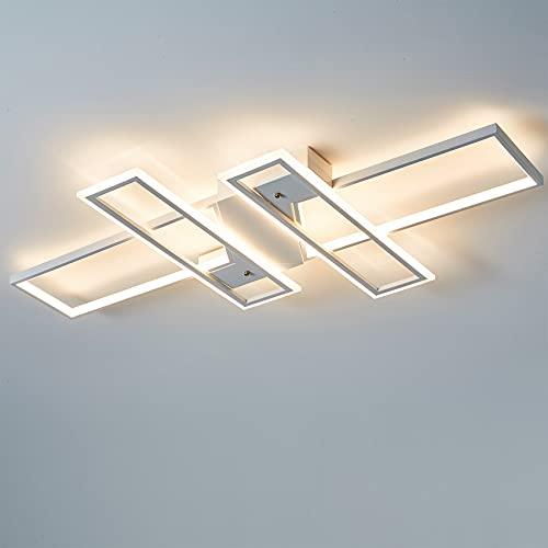 Lámpara LED de techo regulable, moderna y elegante, para salón, dormitorio, lámpara rectangular con mando a distancia, diseño de WODA Shang Mao