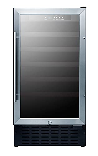 Summit Appliance SWC1840B Commercial 18' Wide Wine Cellar for Built-in or Freestanding Use with 34 Bottle Capacity, Glass Door, Black Cabinet, Auto Defrost, Digital Controls, Lock and LED Lighting