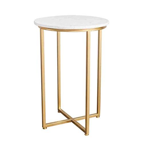 LICHUAN Mesa de café Mármol Mesas finales nórdicas estilo minimalista redondo dormitorio mesita de noche salón sofá mesa de café blanco 15.74 × 23.6 pulgadas mesa auxiliar sala de estar