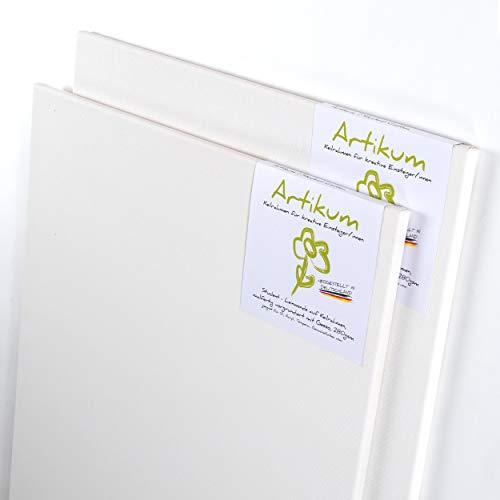 ARTIKUM 2X Student KEILRAHMEN 80x100cm | Leinwände auf Keilrahmen 80 x 100 cm | Leinwandtuch vorgrundiert, malfertige bespannte Keilrahmen mit Leinwand, große Leinwände