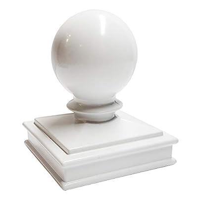 "3"" x 3"" Aluminium Ball Top Post Cap for Metal Posts - Pressure Fit - White"
