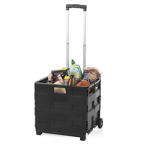 EASYmaxx Einkaufstrolley | Zusammenklappbar, aus unempfindlichem Kunststoff, ausziehbarer Aluminium-Teleskop-Griff | Maximale Belastbarkeit: 35 kg [schwarz]
