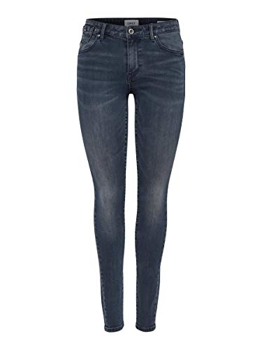 ONLY Damen Skinny Fit Jeans ONLCarmen Reg Skinny 3034Dark Blue Denim