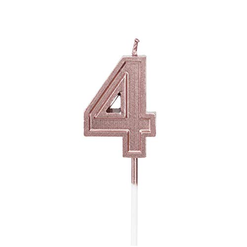 LUTER Rose Gold Glitter Happy Birthday Cake Candles Number Candles Birthday Candle Cake Topper Decoration for Party Kids Adults (Number 4)