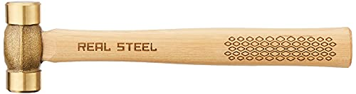 Real Steel 0421 Solid Brass Non-Sparking Hammer, Hickory Wood Handle, 20-Ounce