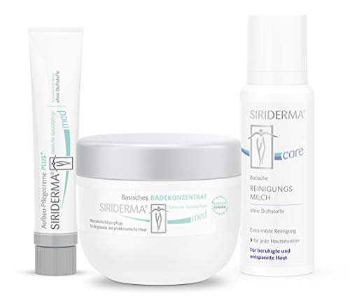 SIRIDERMA® Pflege-Set bei Psoriasis | Basische Gesichtspflege | ohne Duftstoffe | Badekonzentrat, Pflegecreme, Reinigungsmilch | 3 Probiergrößen gratis