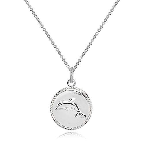 Sterling Silver Polished Dolphin Animal Medallion Coin Round Pendant Necklace