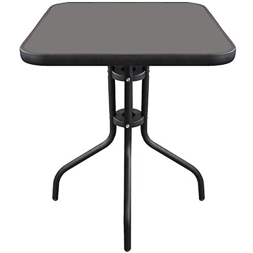 Wohaga® Bistrotisch 60x60xH70cm Schwarz Balkontisch Glastisch Beistelltisch Gartentisch mit Glasplatte
