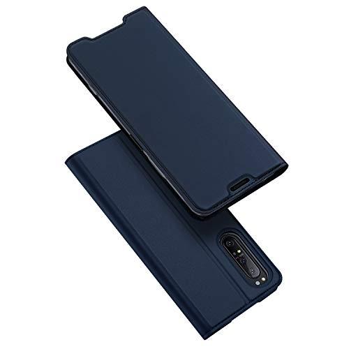 DUX DUCIS Hülle für Sony Xperia 1 II, Leder Flip Handyhülle Schutzhülle Tasche Hülle mit [Kartenfach] [Standfunktion] [Magnetverschluss] für Sony Xperia 1 II (Blau)