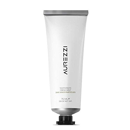 AUREZZI Gold-Infused Luxury Toothpaste with 24k Gold Particles and 1200 ppm Fluoride - Developed by Dentists - Hydroxyapatite for Enamel Repair - Whitening and Cavity Prevention