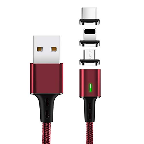 Magnetic Data Charging Cable,i-Product + Micro+Type C USB Cable,Mantis 3 in 1 Data Sync Phone Charger,3.3 Feet Nylon Braided Cord with LED Indicator 3 Adapters for Smartphones and Tablets(Red)
