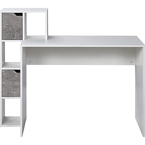 Escritorio para ordenador, mesa de oficina, mesa de juegos, con espacio de almacenamiento, estantes abiertos para almacenamiento, color blanco