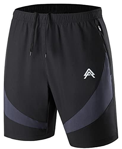 Hombre Pantalones Cortos Deportivos Secado Rápido Pantalón Corto de Running Fitness Gym Shorts Verano con Bolsillo con Cremallera Negro XL